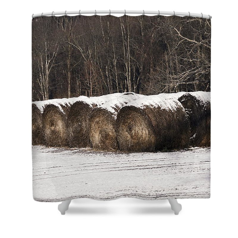 Round Hay Bales Lined Up Shower Curtain featuring the photograph Round Hay Bales by Sally Weigand