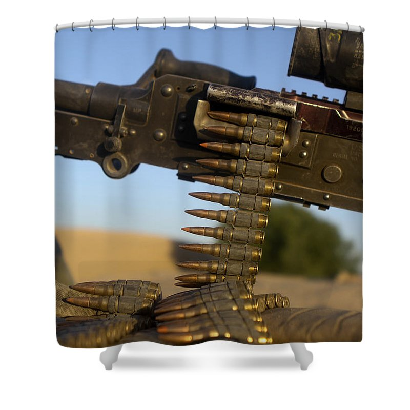 Afghanistan Shower Curtain Featuring The Photograph Rounds Of A M240 Machine Gun By Stocktrek Images