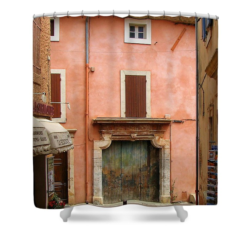 Garage Shower Curtain featuring the photograph Roussillon Painted Door by Carla Parris