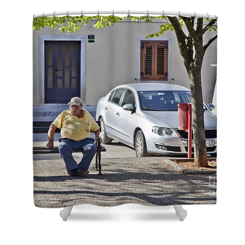 Man Shower Curtain featuring the photograph Rovinj Man by Madeline Ellis