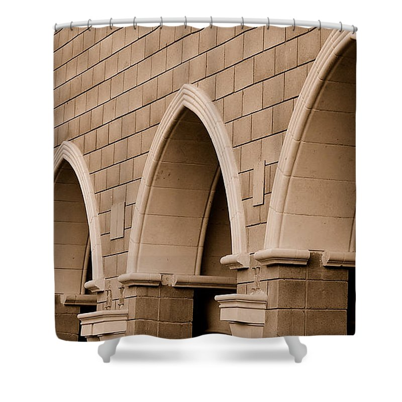 Row Arch Arches Archway Bricks Stone Tiles Monastery Vina Ca Shower Curtain featuring the photograph Row Of Arches by Holly Blunkall