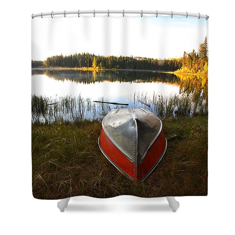 Rowboat Shower Curtain featuring the photograph Rowboats At Jade Lake In Northern Saskatchewan by Mark Duffy