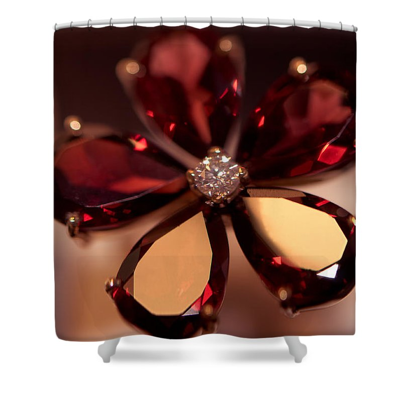 Ring Shower Curtain featuring the photograph Ruby Ring. Spirit Of Treasure by Jenny Rainbow