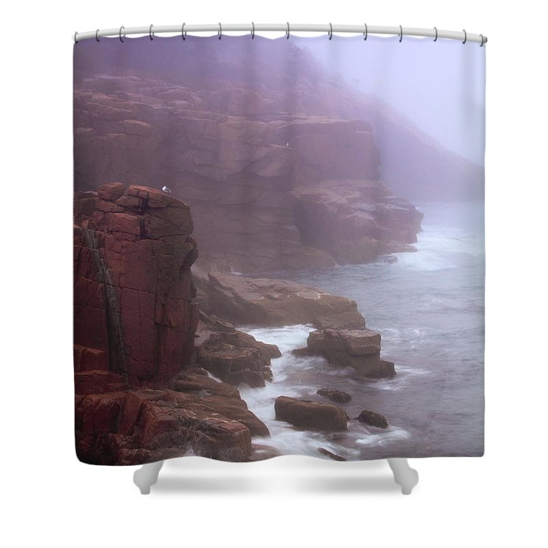 Rugged Shower Curtain featuring the photograph Rugged Seacoast In Mist by Roupen Baker