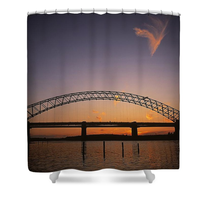 Bridge Shower Curtain featuring the photograph Runcorn Suspension Bridge, Cheshire by The Irish Image Collection