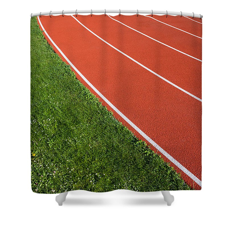 Abstract Shower Curtain featuring the photograph Running Track by Artur Bogacki