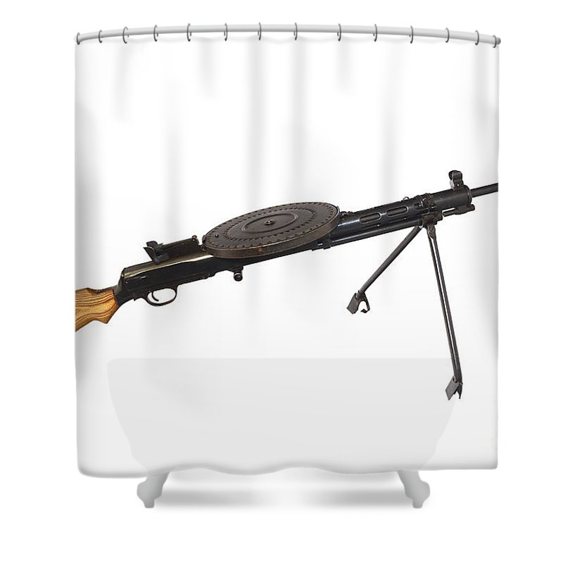 Single Object Shower Curtain Featuring The Photograph Russian 762mm Degtyarev Dp Machine Gun By Andrew