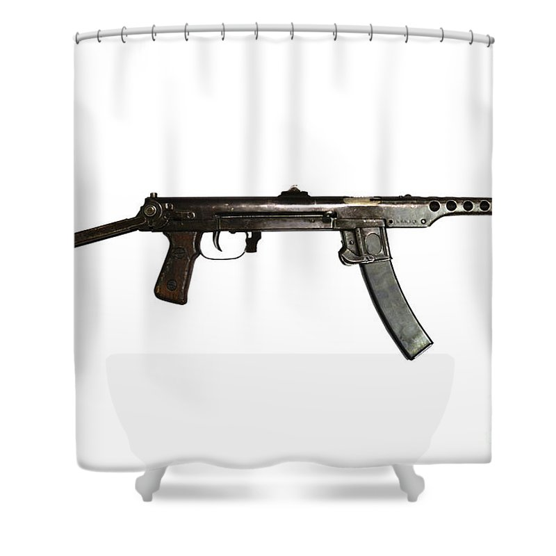 Single Object Shower Curtain Featuring The Photograph Russian Pps 43 Submachine Gun By Andrew Chittock