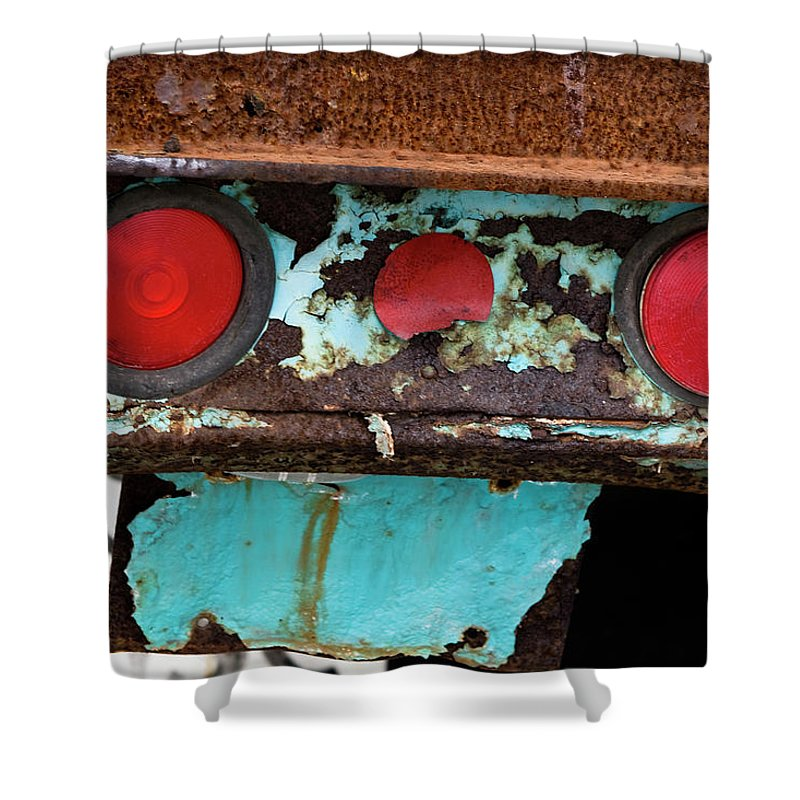 Taillight Shower Curtain featuring the photograph Rusted Blue Taillight by Lorraine Devon Wilke