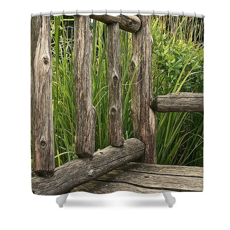 Outdoors Shower Curtain featuring the photograph Rustic Seating by Susan Herber