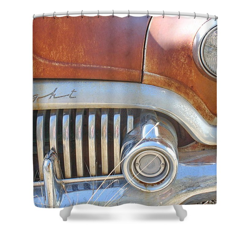 Automobile Shower Curtain featuring the photograph Rusty Abandoned Old Buick Eight by Terry Fleckney