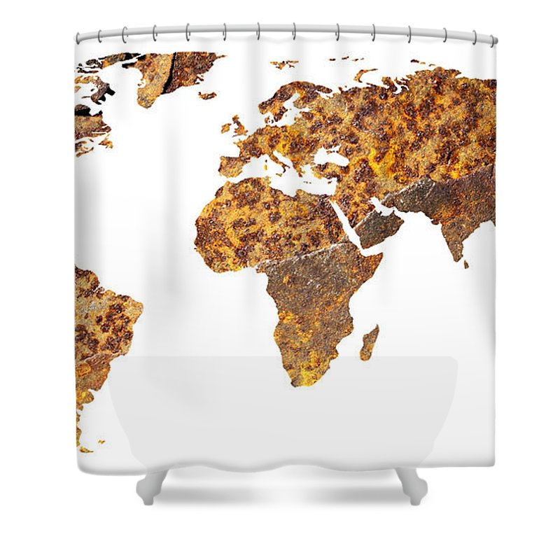 World Shower Curtain featuring the photograph Rusty World Map by Tony Cordoza