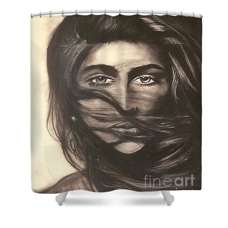 Woman Shower Curtain featuring the drawing Ryan's School Folder by Carrie Maurer