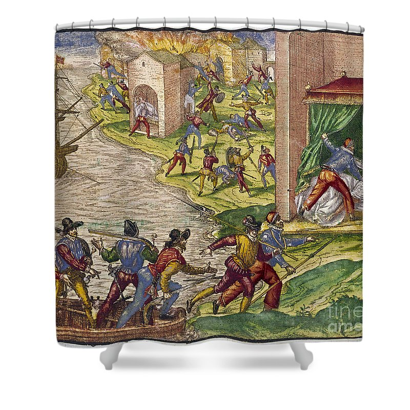 1544 Shower Curtain featuring the photograph Sack Of Cartagena, C1544 by Granger