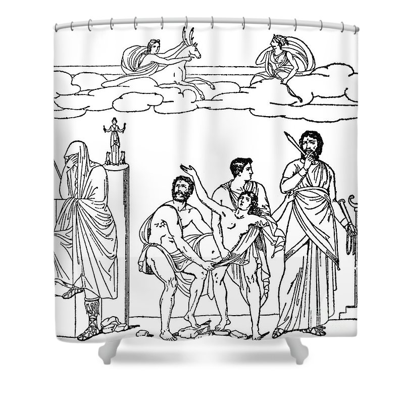 Engraving Shower Curtain featuring the photograph Sacrifice Of Iphigenia by Granger