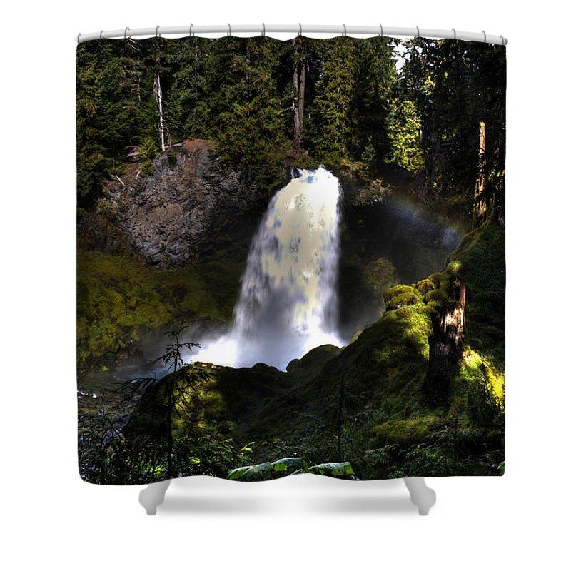 Sahalie Falls Shower Curtain featuring the photograph Sahalie Falls by Merrill Beck