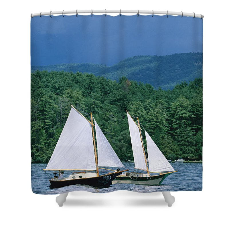 North America Shower Curtain featuring the photograph Sailboats And Darkening Sky, Lake by Skip Brown