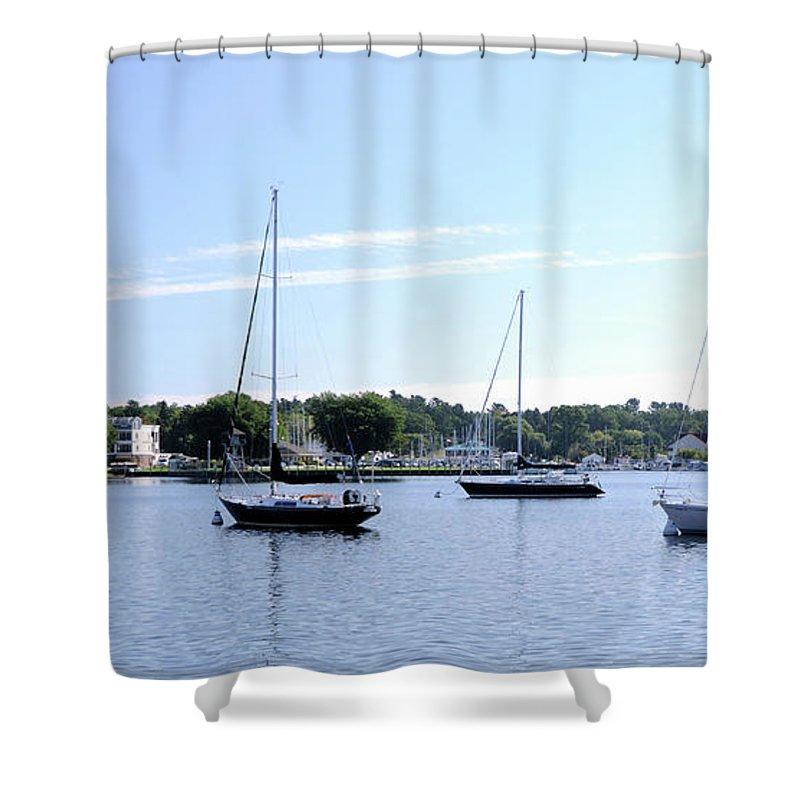 Sailboats Shower Curtain featuring the photograph Sailboats In Bay by Ronald Grogan