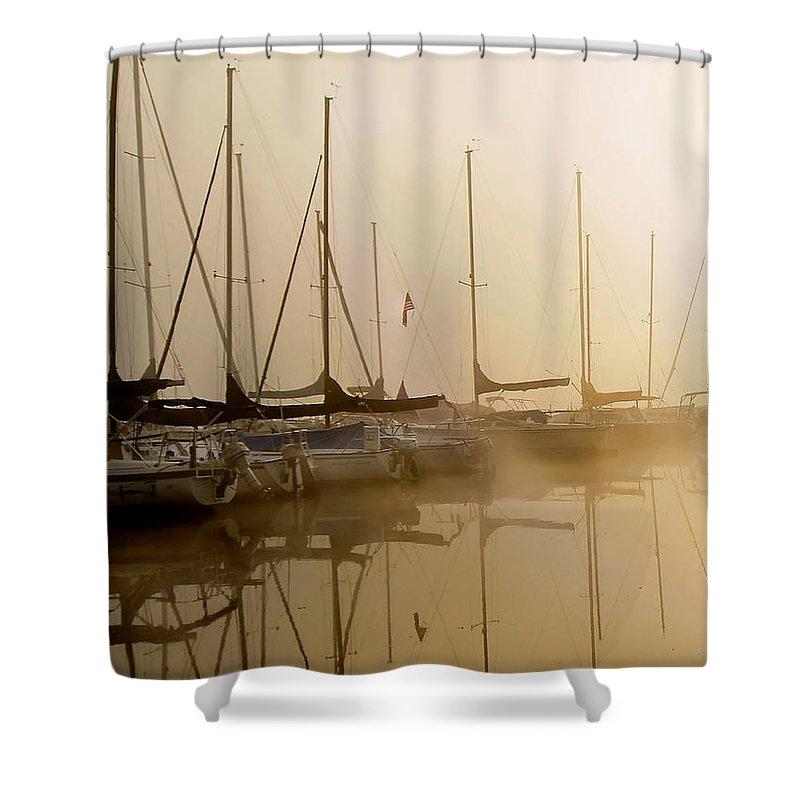 Sailbots Water Shower Curtain featuring the photograph Sailboats In Golden Fog by Randall Branham