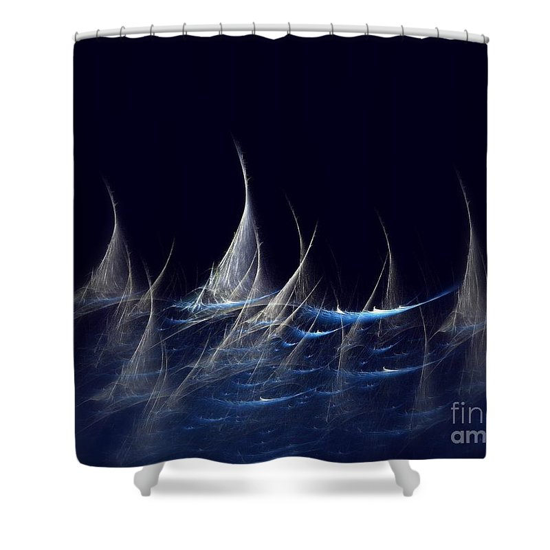 Sailboats In Balaton Shower Curtain featuring the digital art Sailboats by Klara Acel