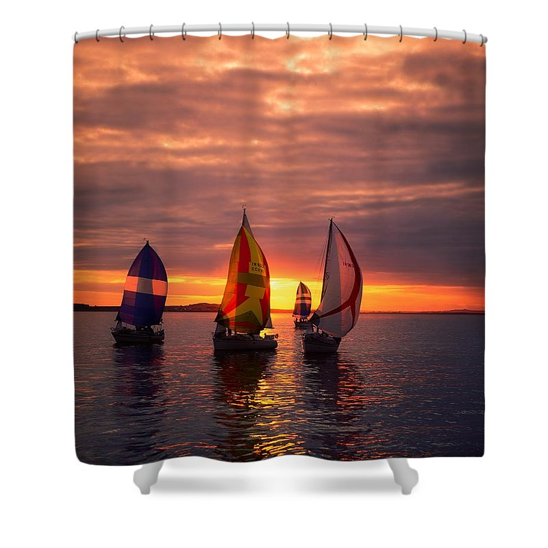 Color Image Shower Curtain featuring the photograph Sailing Yachts by The Irish Image Collection