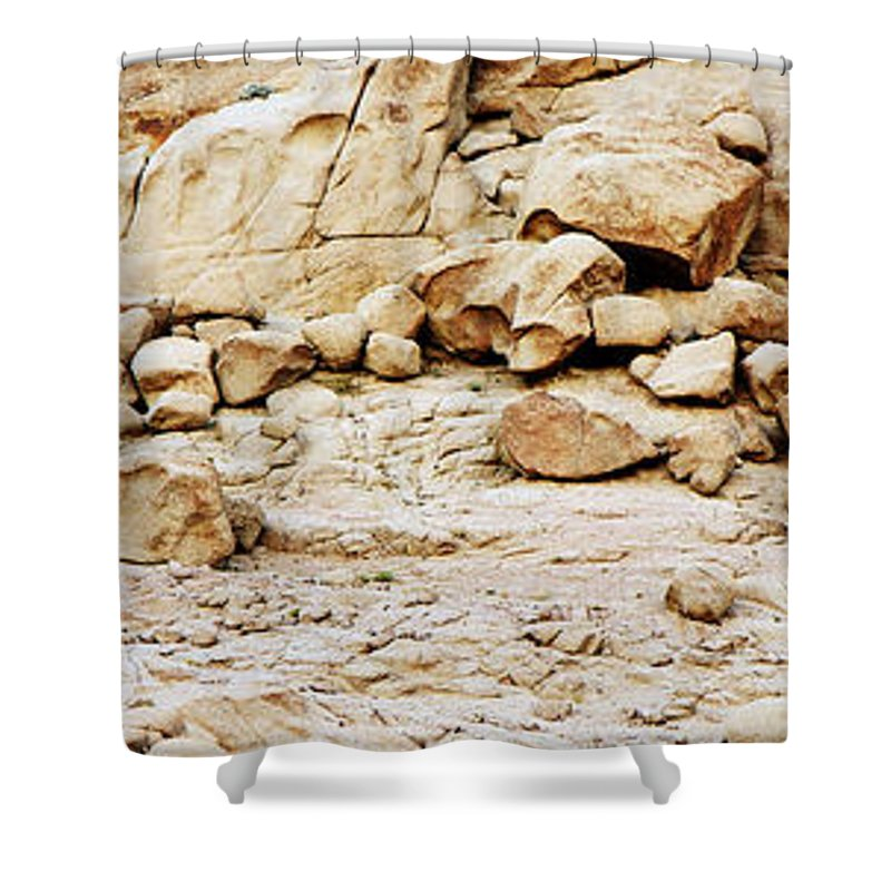 Desert Landscape Rock Rocks Cliff Sinai mount Sinai jabal Musa st Catherine santa Katherina Egypt Sand Sahara Africa Shower Curtain featuring the photograph Saint Catherine Sinai by Neil Pollick