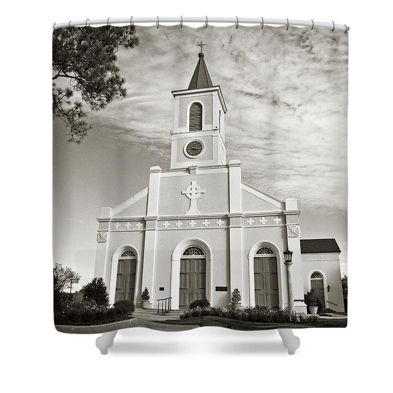 Saint Martin Shower Curtain featuring the photograph Saint Martin De Tours - Sepia by Scott Pellegrin