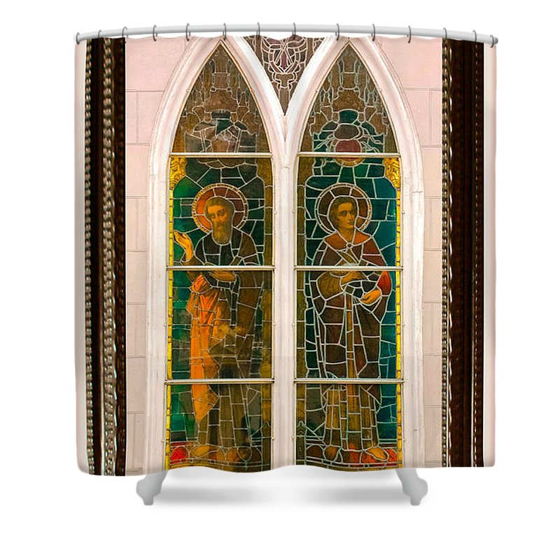 Church Shower Curtain featuring the photograph Saints In The Window by DigiArt Diaries by Vicky B Fuller