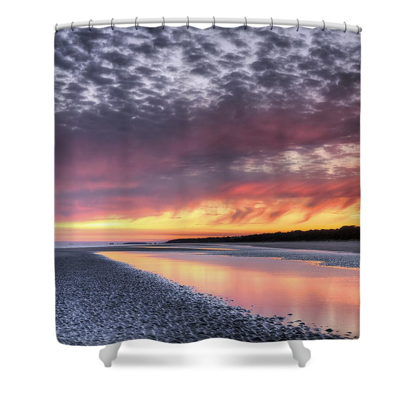 Beach Shower Curtain featuring the photograph Same Night Six Thirteen Pm by Phill Doherty