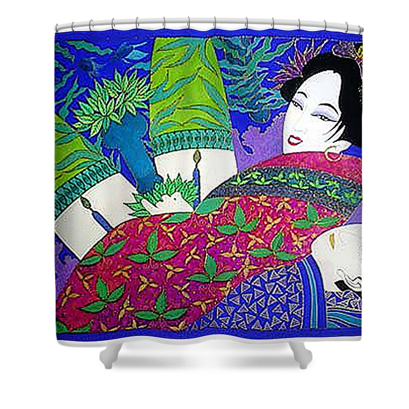 Erotic Shower Curtain featuring the painting Samurai And Geisha Pillowing by Dulcie Dee