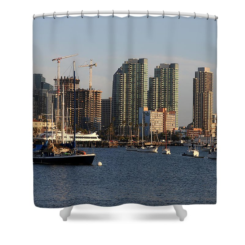 Places Shower Curtain featuring the photograph San Diego Skyline by Geoffrey Bolte
