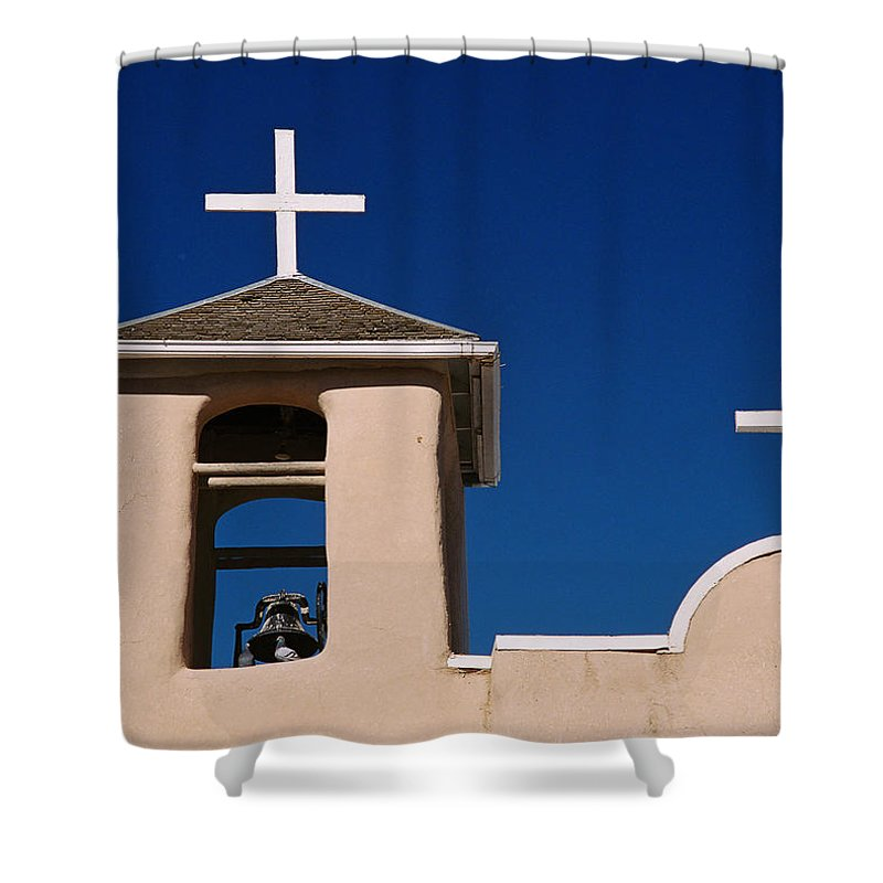 Taos Shower Curtain featuring the photograph San Francisco Bell Tower by Ron Weathers
