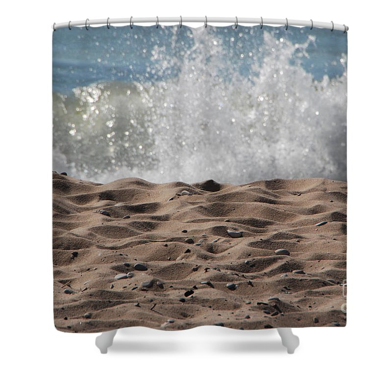 Beach Shower Curtain featuring the photograph Sand And Surf by Grace Grogan