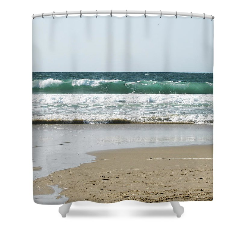 California Shower Curtain featuring the photograph Sand City Rolling Waves by Kathleen Grace