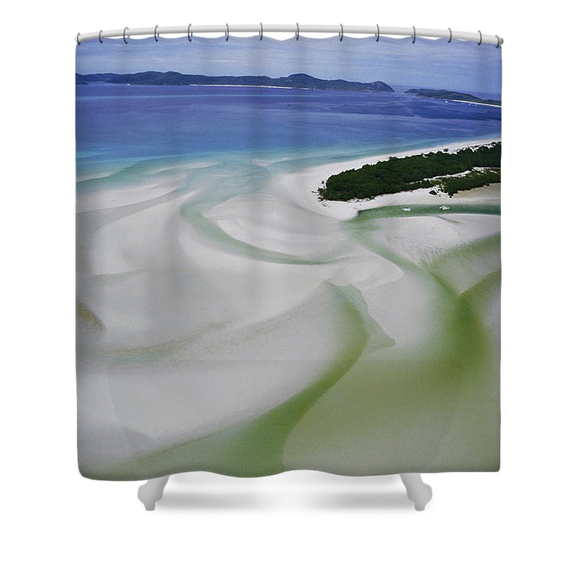 Whitsunday Islands National Park Shower Curtain featuring the photograph Sandbars Create An Interesting Pattern by Paul Chesley