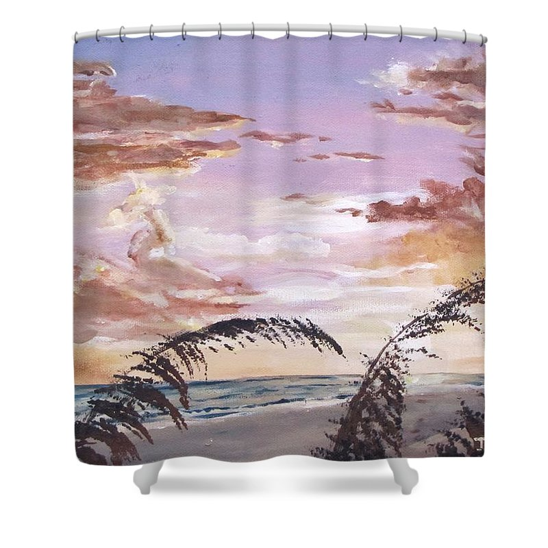 Sunset Shower Curtain featuring the painting Sanibel Island Sunset by Jack Skinner