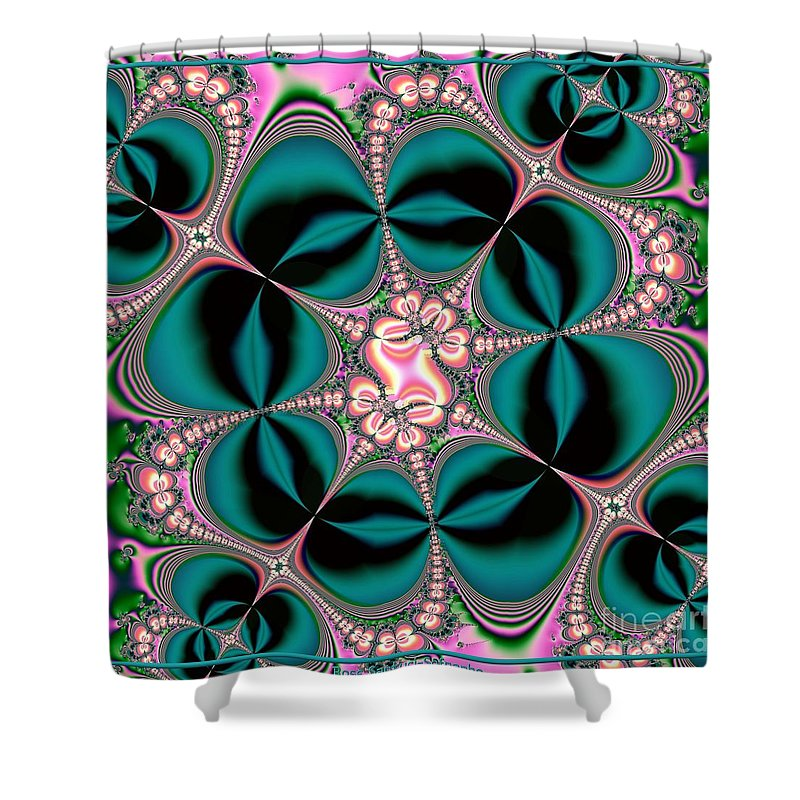Satin Shower Curtain featuring the digital art Satin Flowers And Butterflies Fractal 122 by Rose Santuci-Sofranko