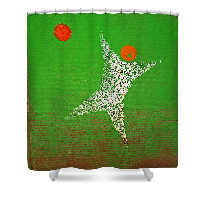 Goal Shower Curtain featuring the painting Save by Charles Stuart