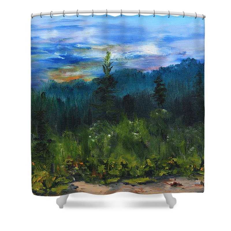 Sawbill Trail Tofte Mn Shower Curtain featuring the painting Sawbill Overlook Sunset by Joi Electa