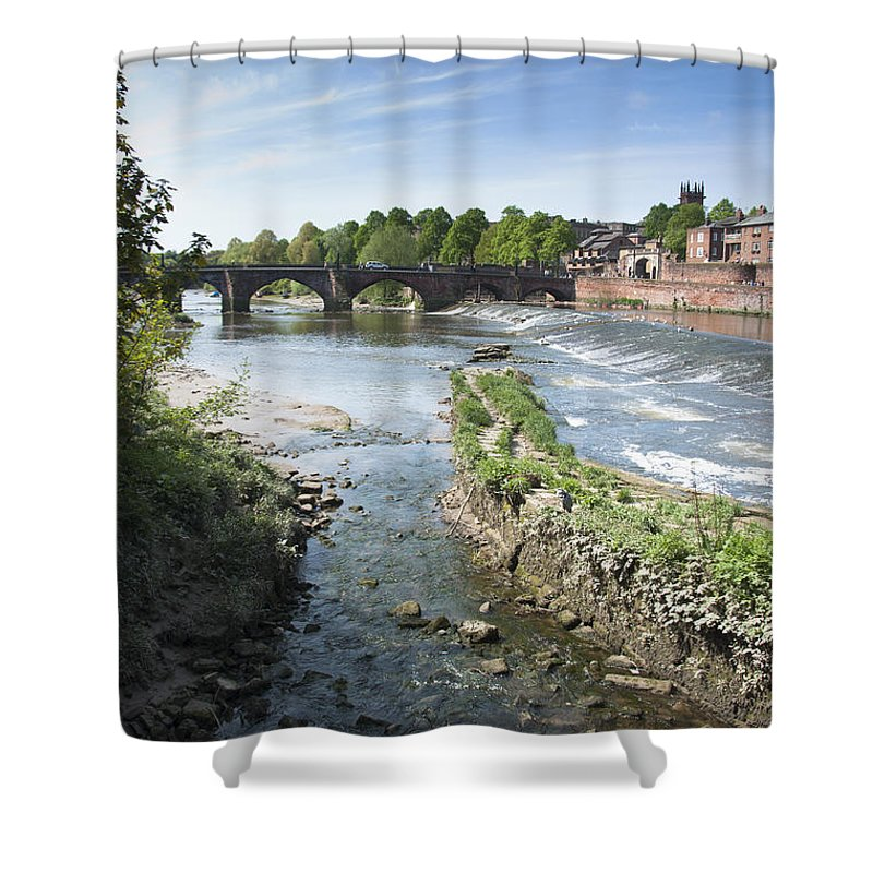 2011 Shower Curtain featuring the photograph Scenic Landscape With Old Dee Bridge by Andrew Michael