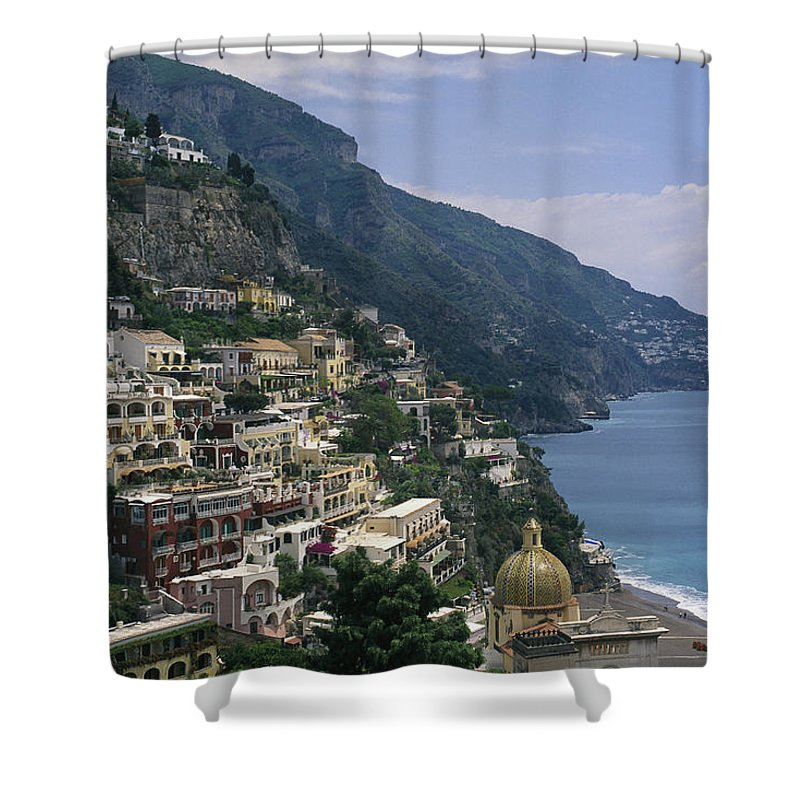 Europe Shower Curtain featuring the photograph Scenic View Of The Beach And Hillside by Richard Nowitz