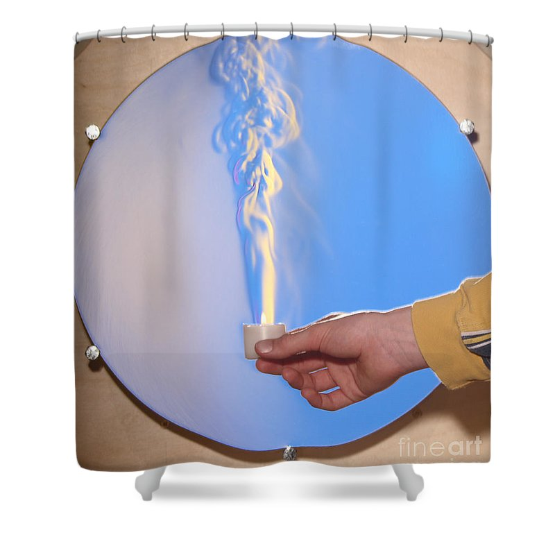 Schlieren Shower Curtain featuring the photograph Schlieren Image Of A Candle by Ted Kinsman