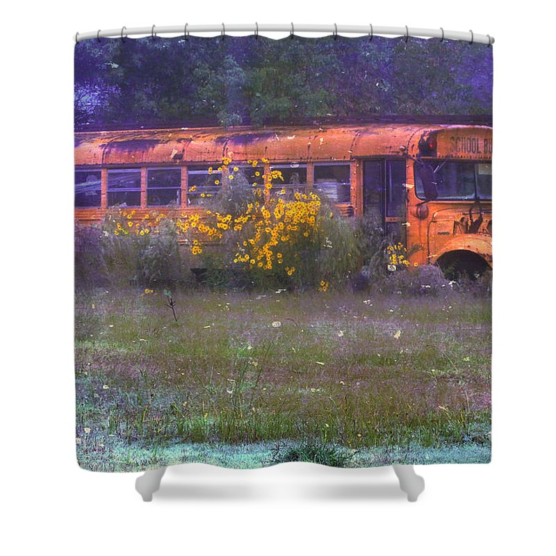 School Shower Curtain featuring the photograph School Bus Out To Pasture by Judi Bagwell