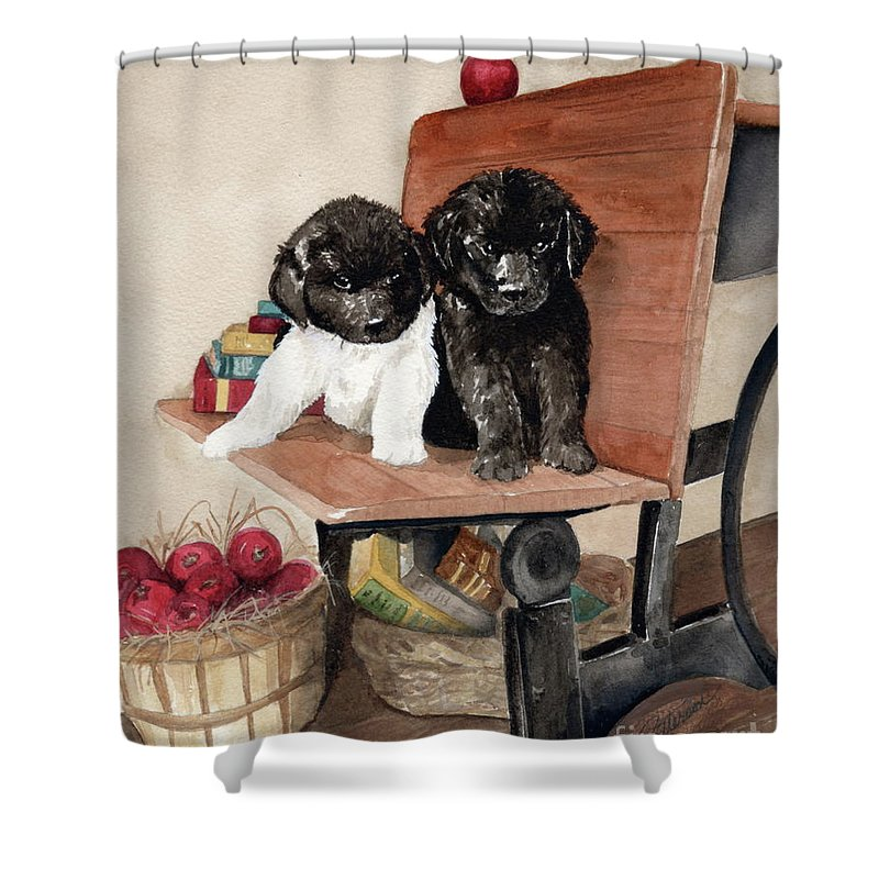 Watercolor Shower Curtain featuring the painting School Days by Nancy Patterson