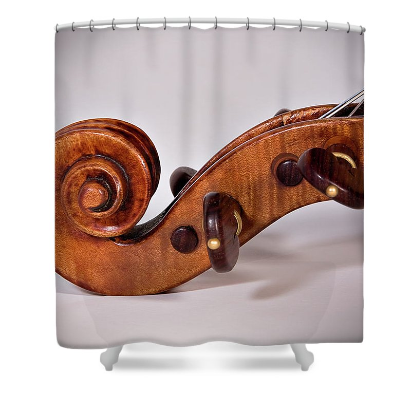 Strad Shower Curtain featuring the photograph Scroll Side View by Endre Balogh