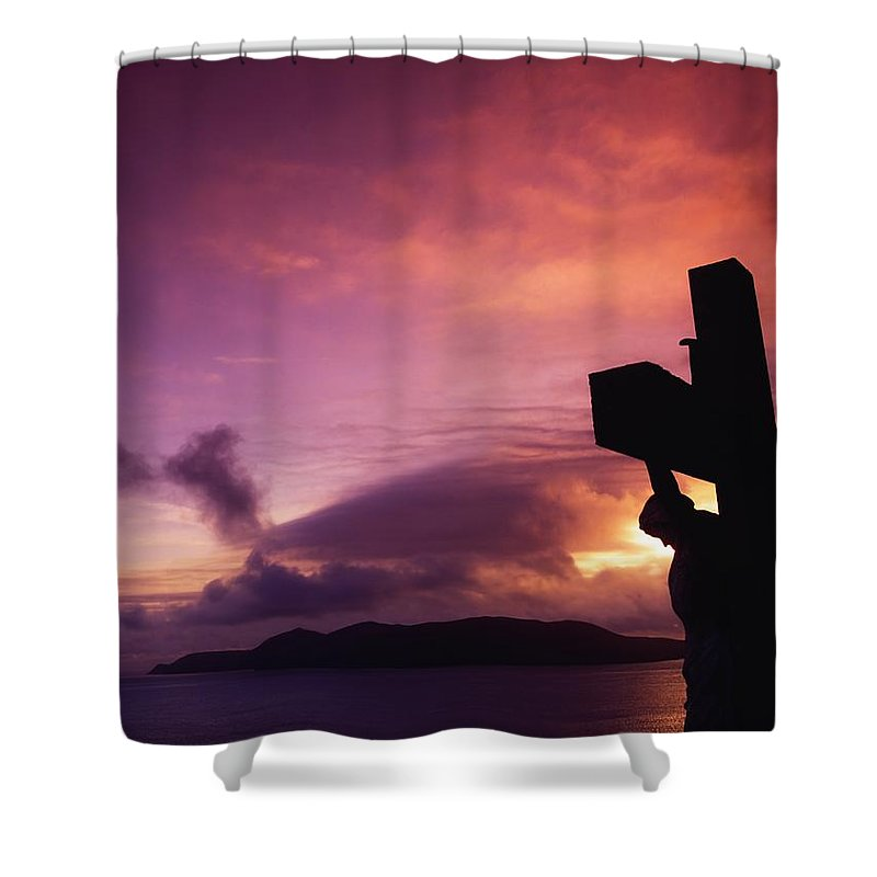 Atmosphere Shower Curtain featuring the photograph Sculpture Of Crucifixion, Overlooking by The Irish Image Collection
