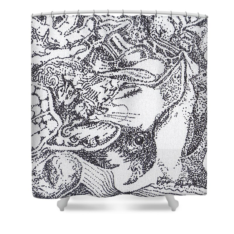 Stippling Shower Curtain featuring the painting Searchers And Swimmers by Charles Kabrich