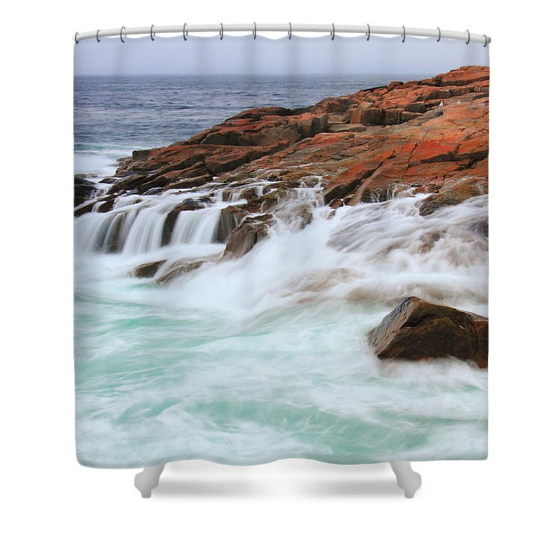 Seas Shower Curtain featuring the photograph Seas On Schoodic Point by Roupen Baker