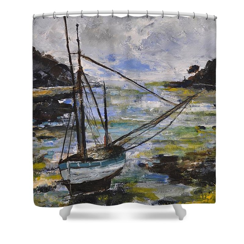 Seascape Shower Curtain featuring the painting Seascape 692140 by Pol Ledent