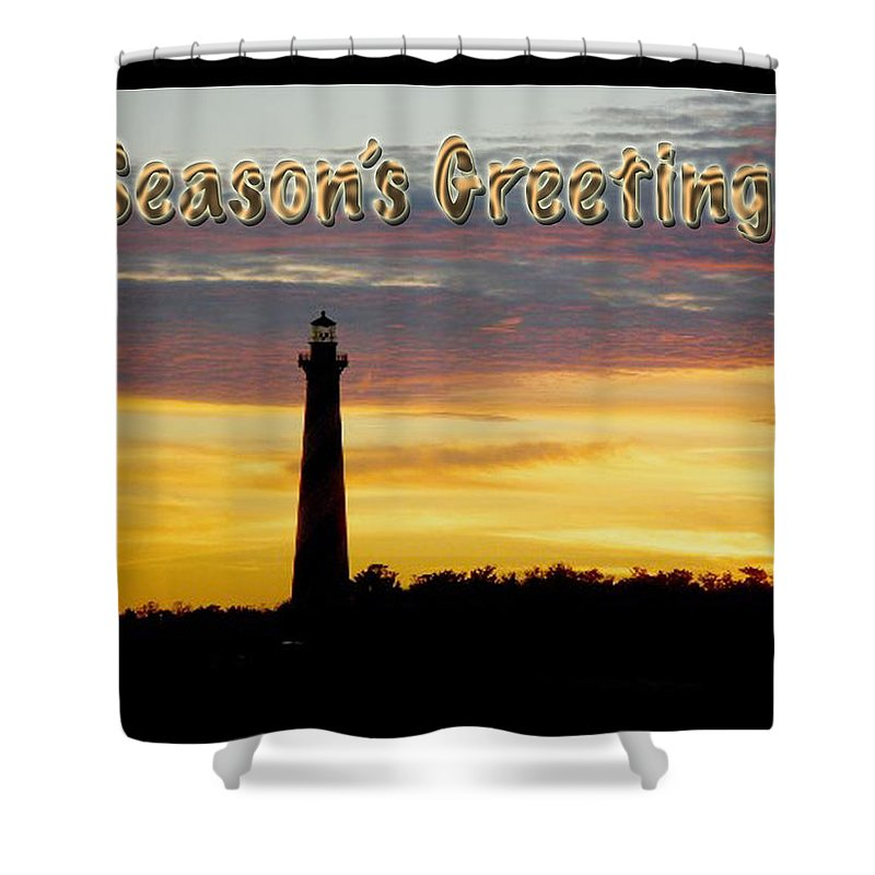 Seasons Greeting Shower Curtain featuring the photograph Season's Greetings Card - Cape Hatteras Lighthouse Sunset by Mother Nature